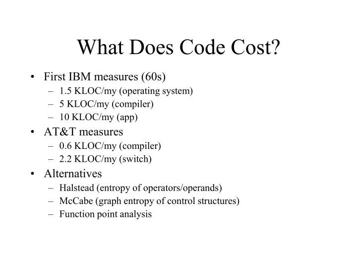 What Does Code Cost?