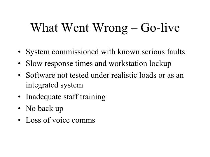 What Went Wrong – Go-live