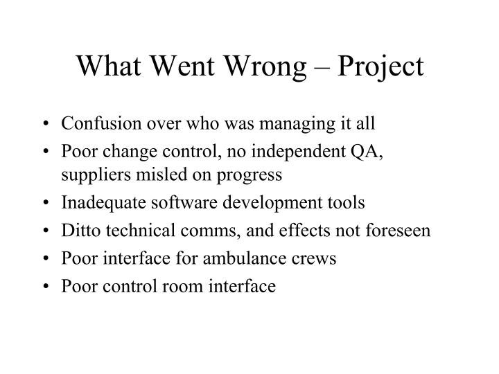 What Went Wrong – Project