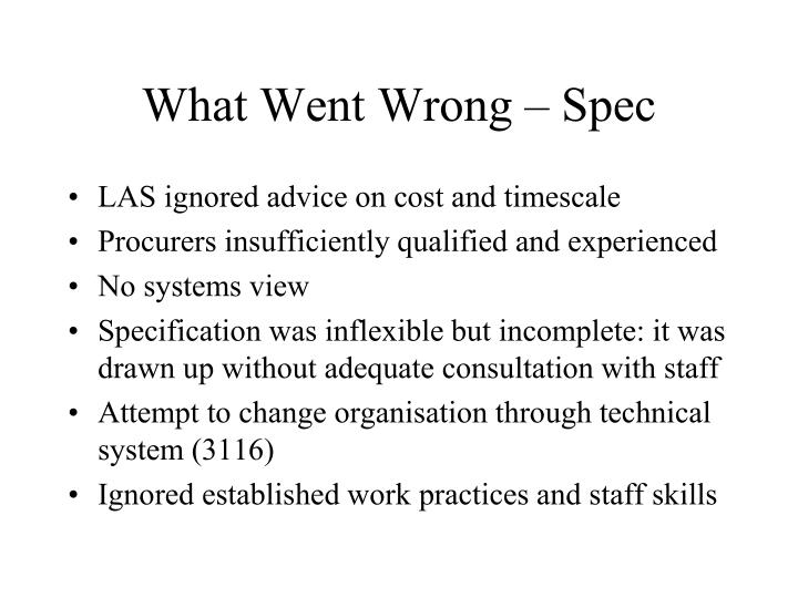 What Went Wrong – Spec