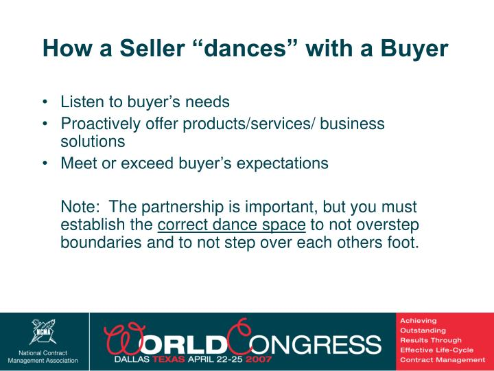 "How a Seller ""dances"" with a Buyer"