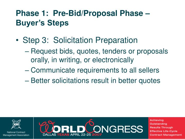 Phase 1:  Pre-Bid/Proposal Phase – Buyer's Steps