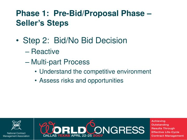 Phase 1:  Pre-Bid/Proposal Phase – Seller's Steps