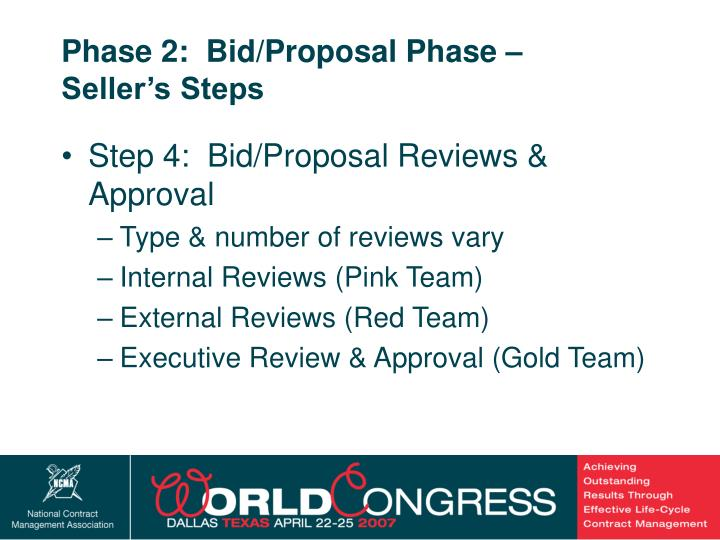 Phase 2:  Bid/Proposal Phase –