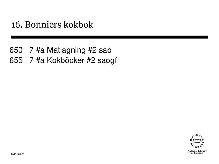 16. Bonniers kokbok