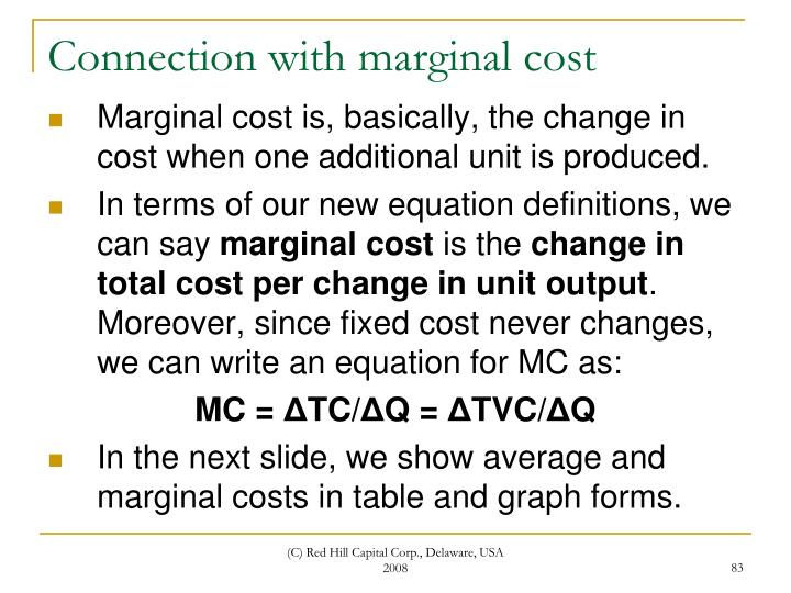 Connection with marginal cost