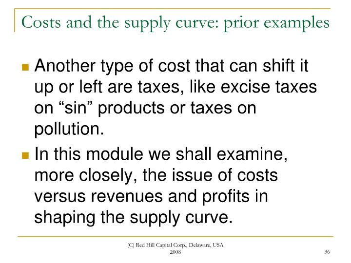 Costs and the supply curve: prior examples
