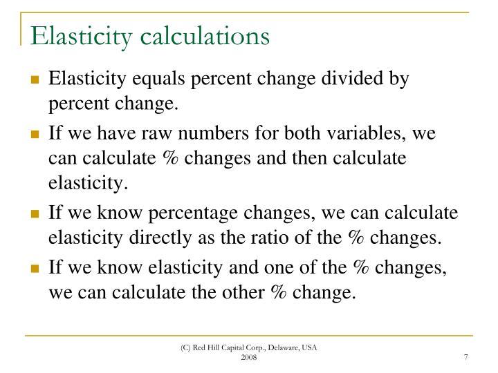 Elasticity calculations