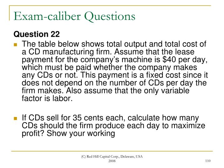Exam-caliber Questions