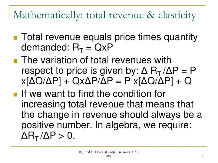 Mathematically: total revenue & elasticity