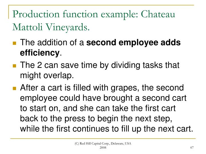 Production function example: Chateau Mattoli Vineyards.