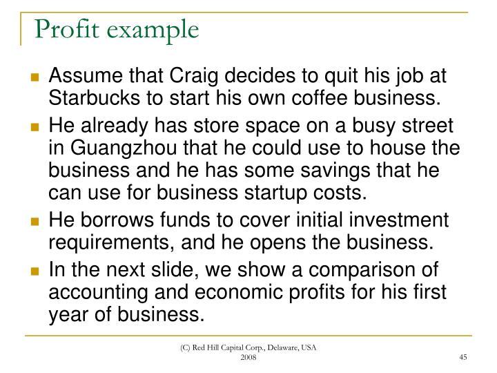 Profit example