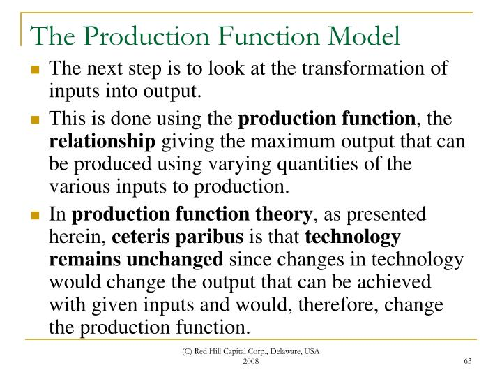 The Production Function Model