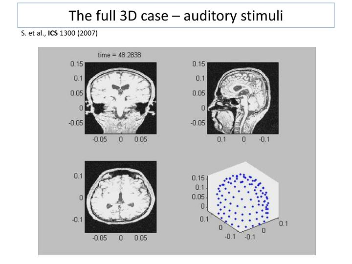 The full 3D case – auditory stimuli