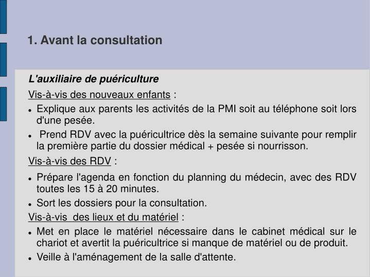 1. Avant la consultation