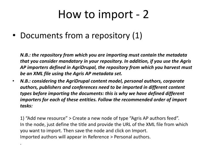 How to import - 2