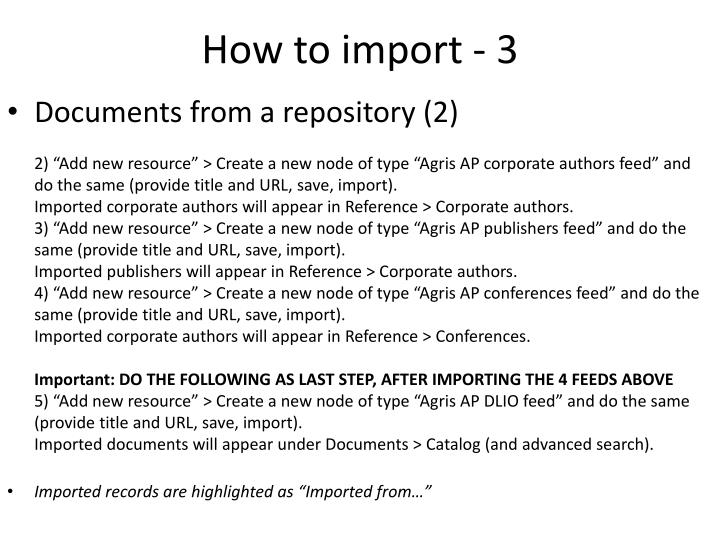 How to import - 3