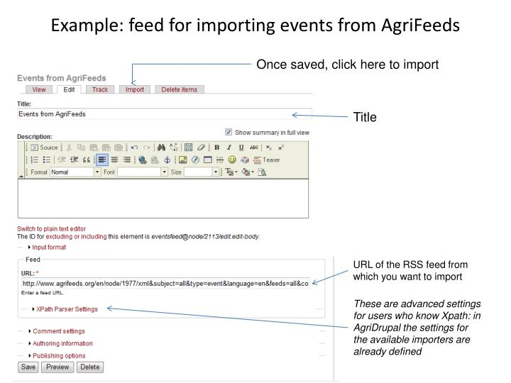 Example: feed for importing events from AgriFeeds