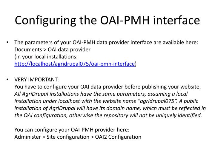 Configuring the OAI-PMH interface