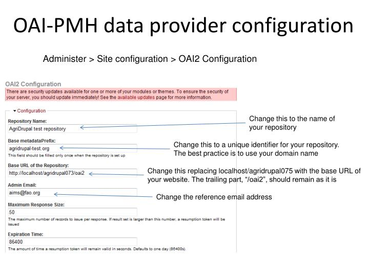 OAI-PMH data provider configuration