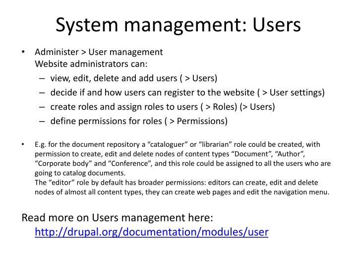 System management: Users