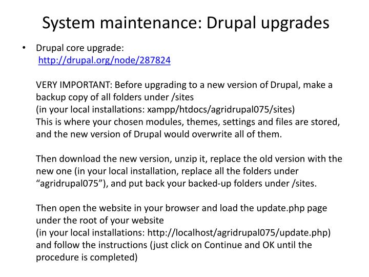 System maintenance: Drupal upgrades
