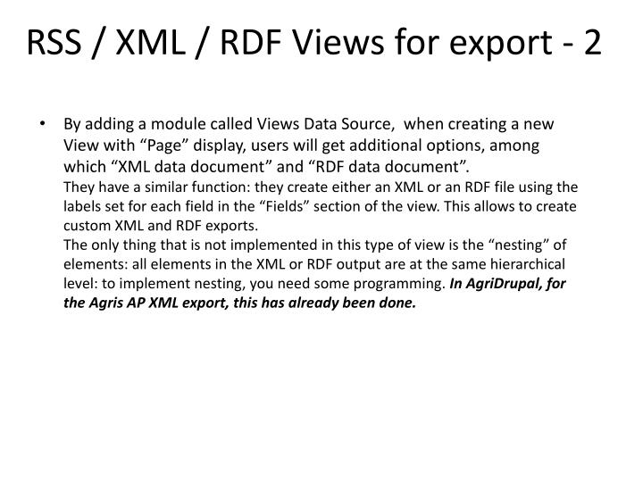 RSS / XML / RDF Views for export - 2