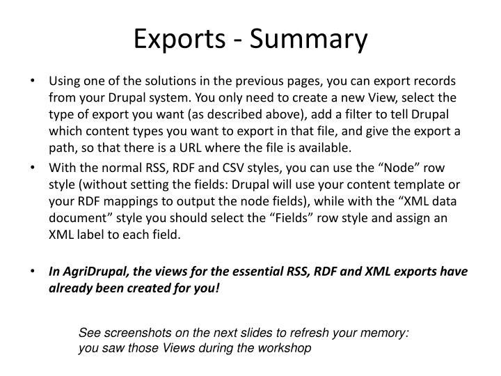 Exports - Summary