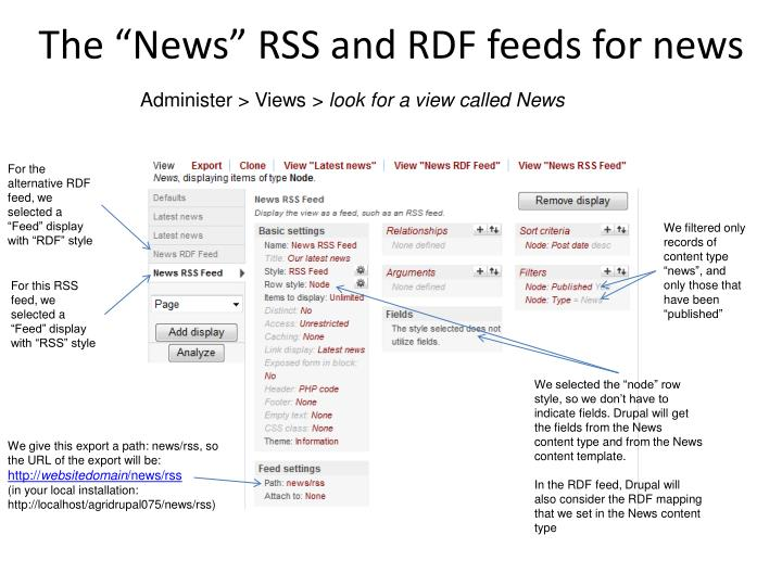 "The ""News"" RSS and RDF feeds for news"