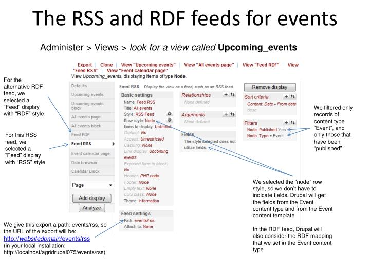 The RSS and RDF feeds for events
