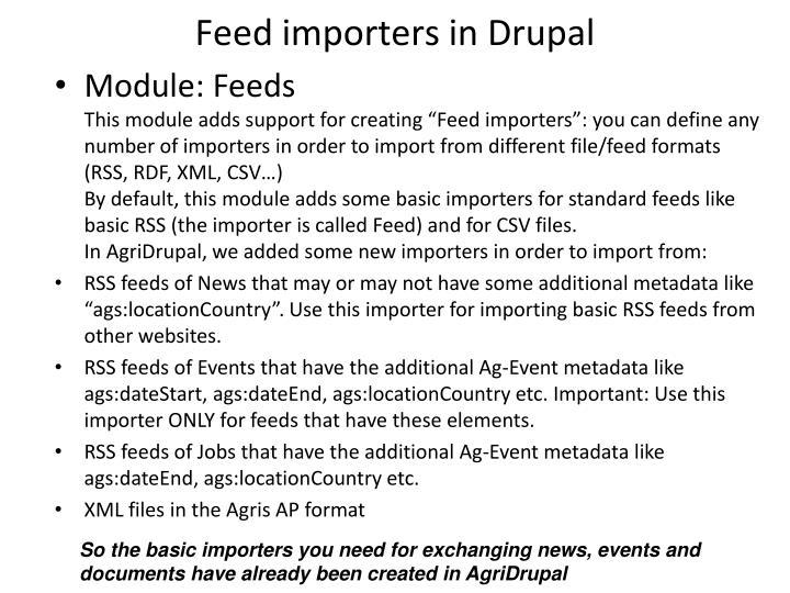 Feed importers in Drupal