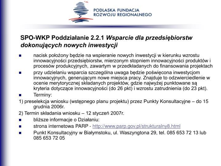 SPO-WKP Poddziałanie 2.2.1