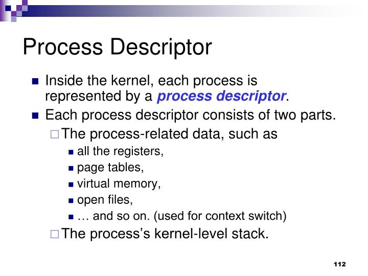 Process Descriptor