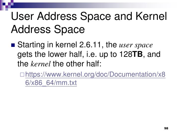 User Address Space and Kernel Address Space