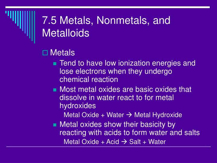7.5 Metals, Nonmetals, and Metalloids