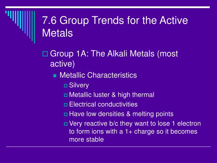7.6 Group Trends for the Active Metals