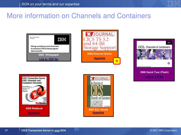 More information on Channels and Containers