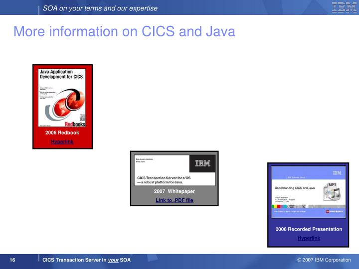 More information on CICS and Java