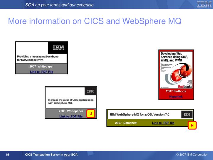 More information on CICS and WebSphere MQ