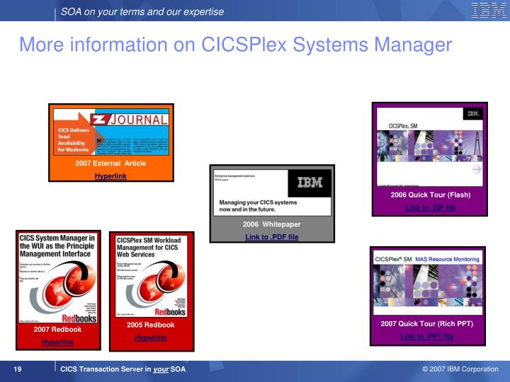 More information on CICSPlex Systems Manager