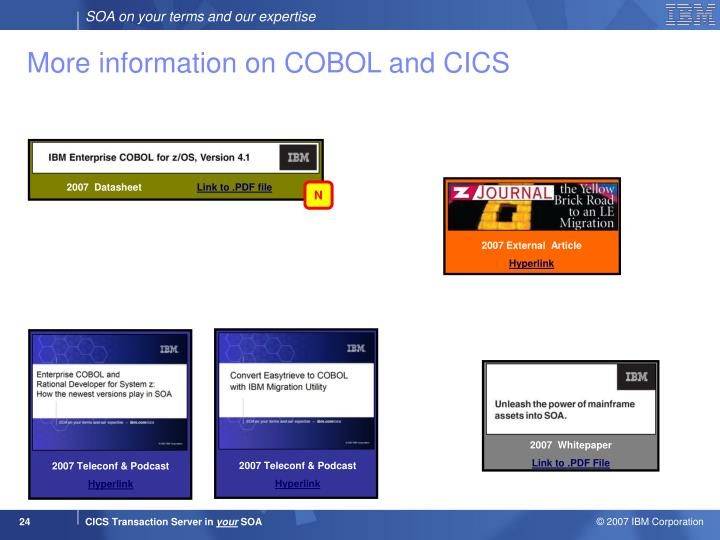 More information on COBOL and CICS