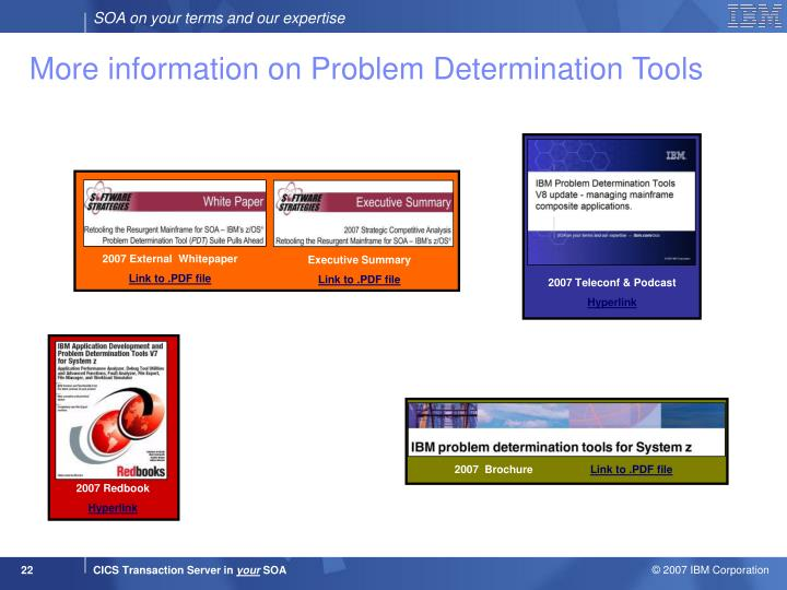 More information on Problem Determination Tools