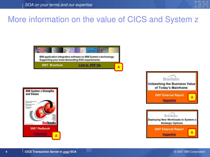More information on the value of CICS and System z