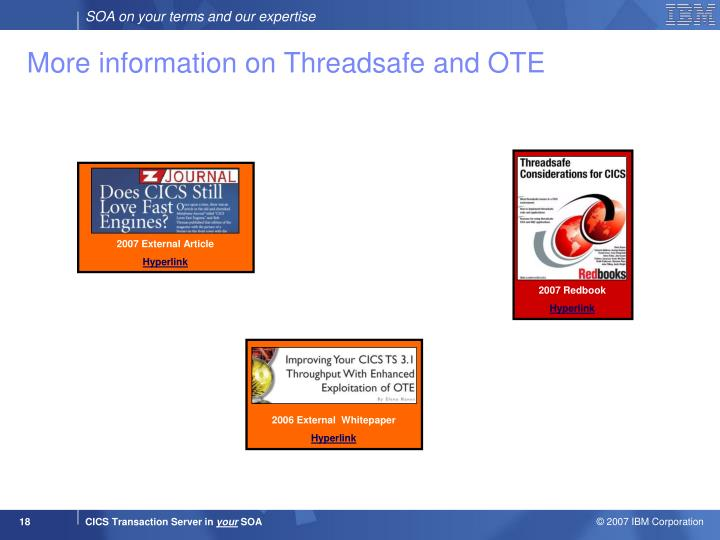 More information on Threadsafe and OTE