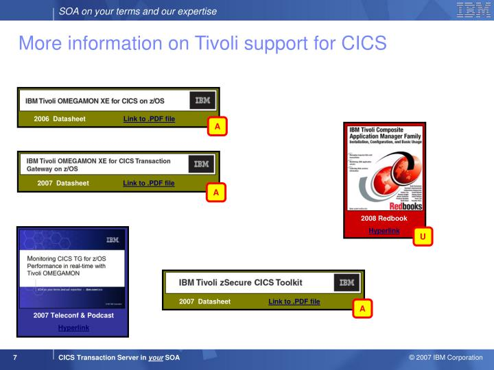 More information on Tivoli support for CICS