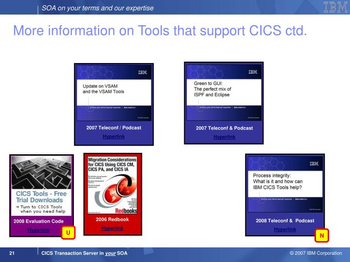 More information on Tools that support CICS ctd.