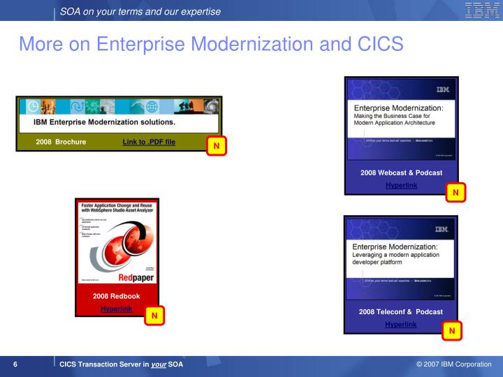 More on Enterprise Modernization and CICS