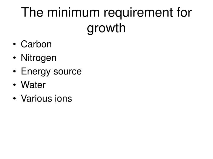 The minimum requirement for growth