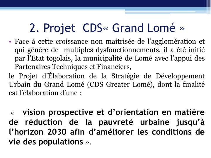 2. Projet  CDS«Grand Lomé»