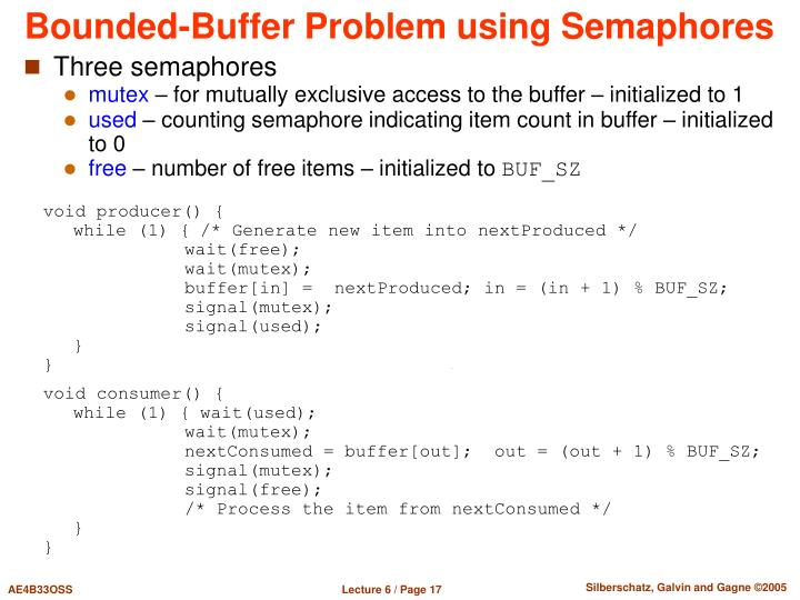 Bounded-Buffer Problem using Semaphores